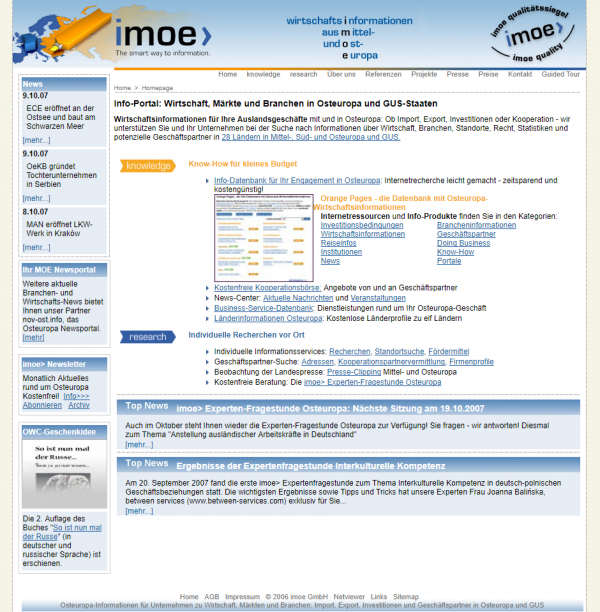 imoe 2007 - Info-Datenbank Osteuropa online